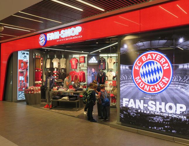 Der FC Bayern Fan-Shop in Mannheim